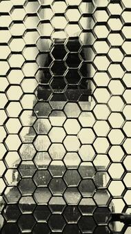 Black and white iron grid