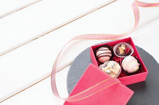 Present handmade chocolate