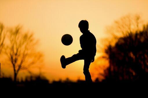 Kids practicing soccer