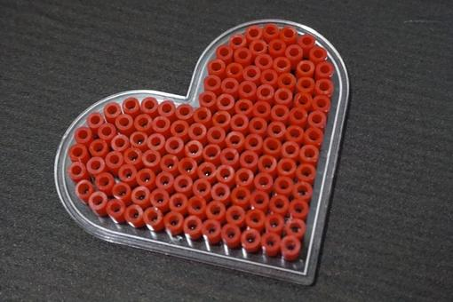 Heart made of red beads