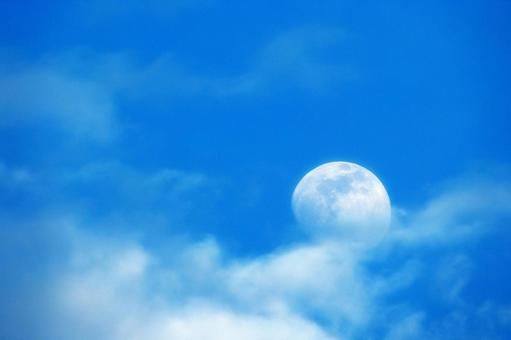 Blue sky, clouds and white moon (Age 12.2)