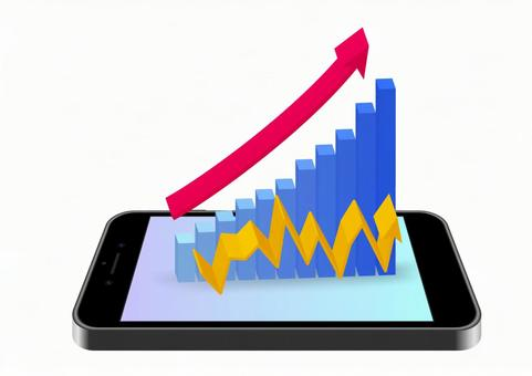 Smartphone, bar graph, line graph, arrow material-3D solid white background