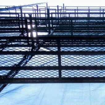 Scaffolding constructed for construction of the outer wall of the condominium