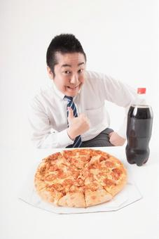 Pizza and coke and men 1