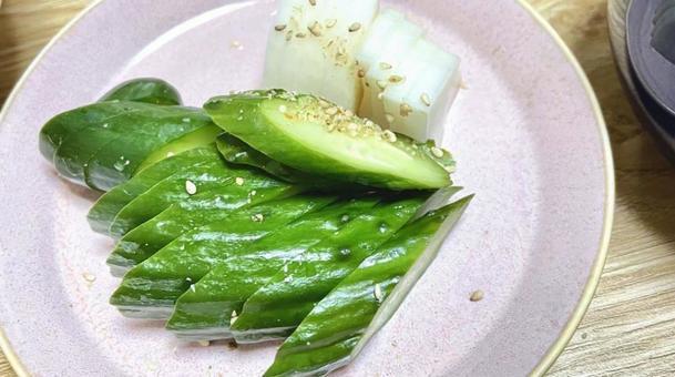 Pickled cucumber and radish