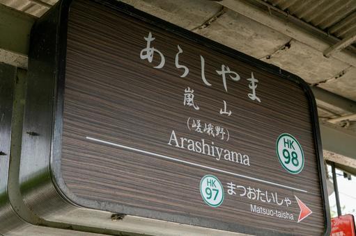 Home signboard of Arashiyama Station in Nishikyo-ku, Kyoto