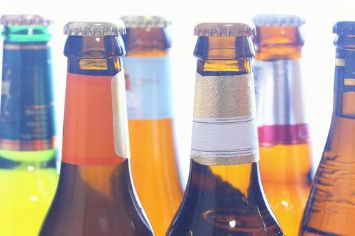 Colorful beer bottle image material