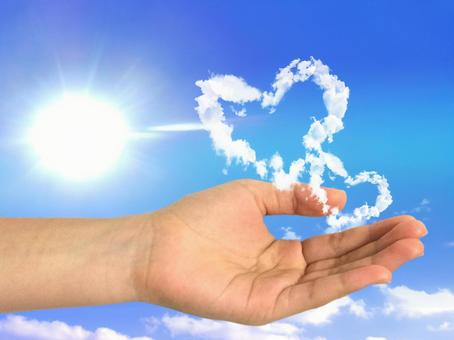 Double heart cloud and hand