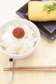 White rice cooked and Umeboshi and egg yaki 2
