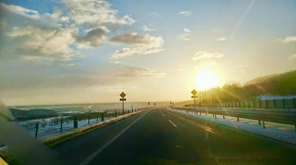 Road toward sunrise