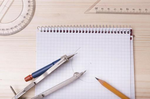 Pencil and protractor, triangular ruler, compass and note 2