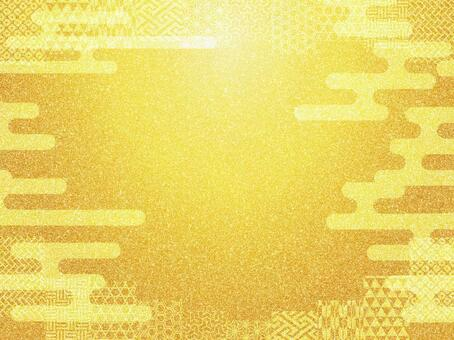 Golden japanese style pattern background material