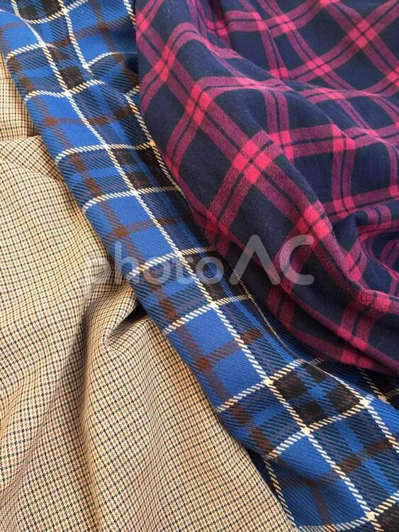 ファッション-背景-チェック柄の布の写真