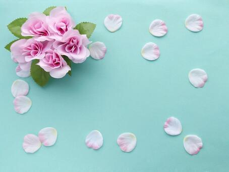 Pink roses and petals