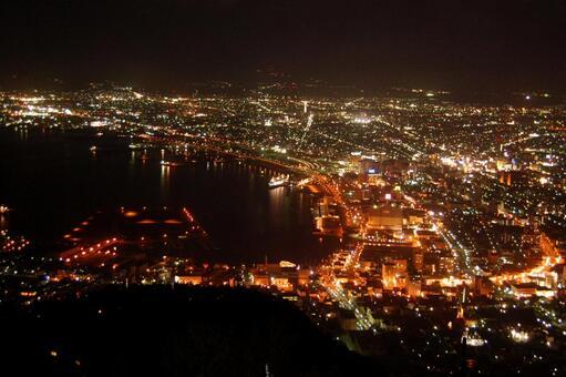 Night view Hokkaido Hakodateyama neon glittering moody