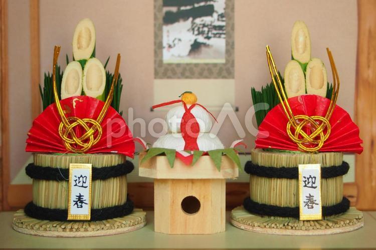 お正月~鏡餅と門松の写真