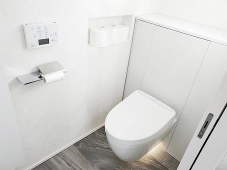 Newly built white toilet with a sense of cleanliness
