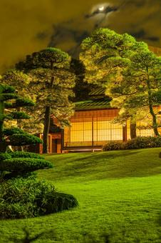 Japanese house and garden and moon