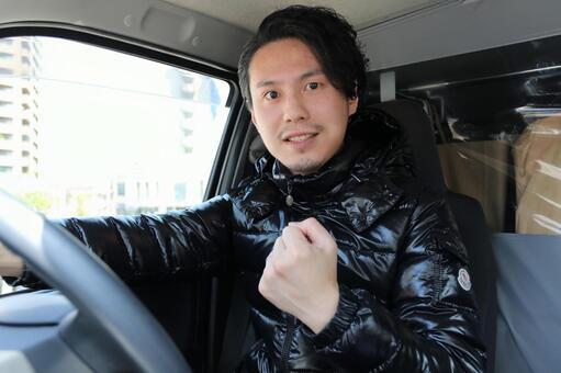 Men posing for guts in car