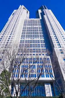 Tokyo Metropolitan Government Building Main Building Towering in the Blue Sky