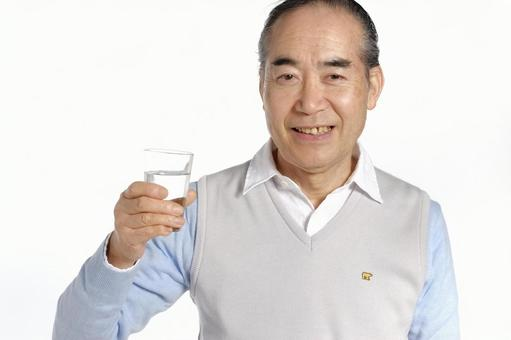 Senior male with glass with water 1