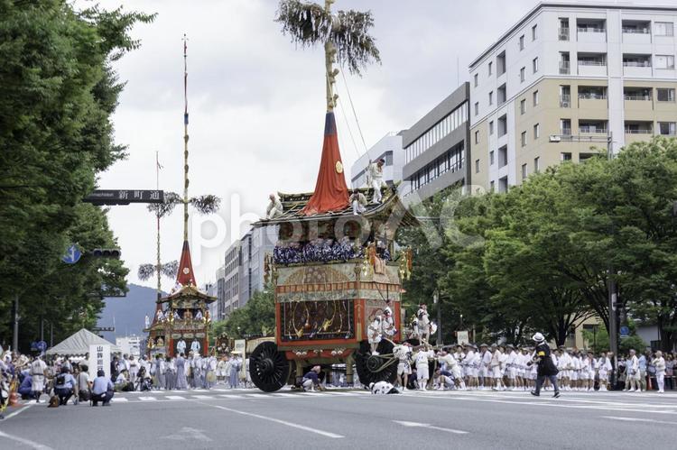 京都祇園祭2017 山鉾巡行 辻回しの写真