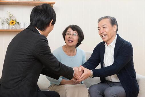Business negotiation established (senior couple) 1