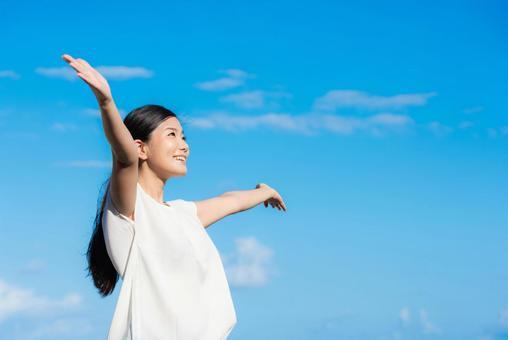 Women's health image sky background