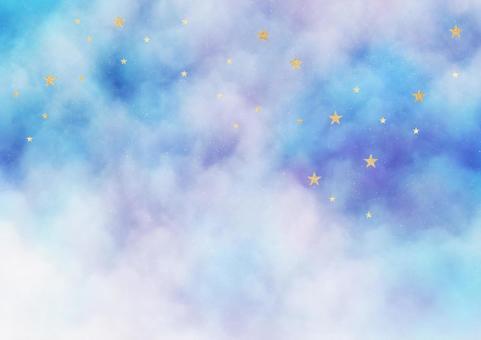 星雲和金色閃光星星背景插圖素材(藍色、淺藍色、紫色)