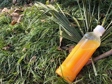 草坪和PET瓶裝飲料