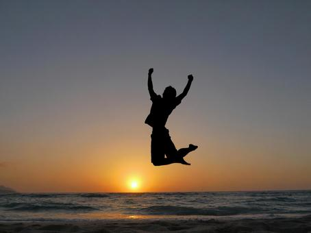 Victory symbol jump