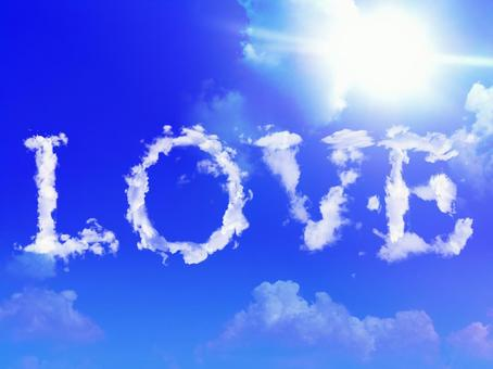 LOVE cloud and blue sky