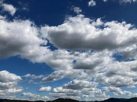 Deep blue sky and clouds on a sunny day