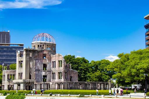 Atomic Bomb Dome in the blue sky