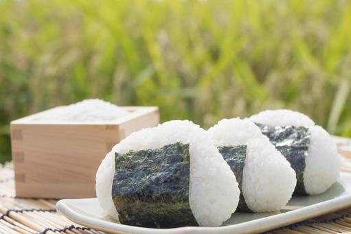 Onigiri and rice ear