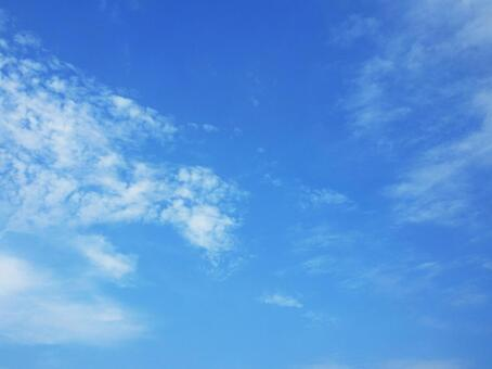 Intense heat blue sky and white clouds