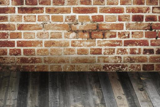 Wooden board_brick wall_floor_background material