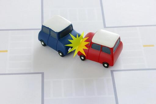 There is a traffic accident collision mark