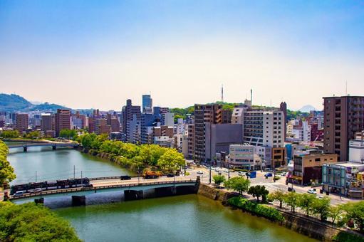 Hiroshima city river and cityscape