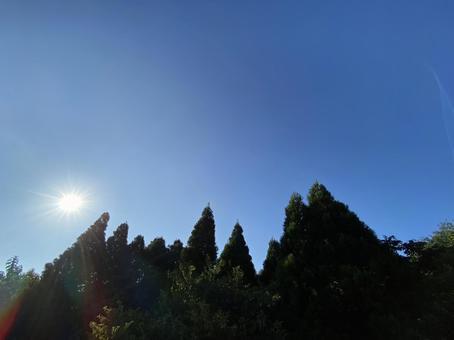 Blue sky and brilliant sun