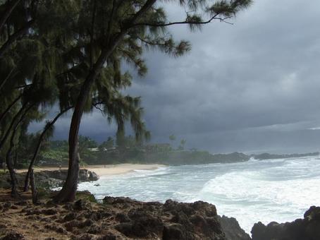 바다 푸른 바다 백사장 하와이 노스 쇼어 파 흐림