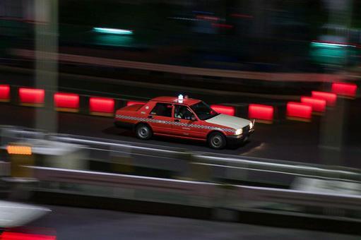 Taxi running in Shinjuku