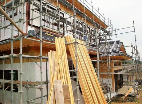 Wooden house construction site 48