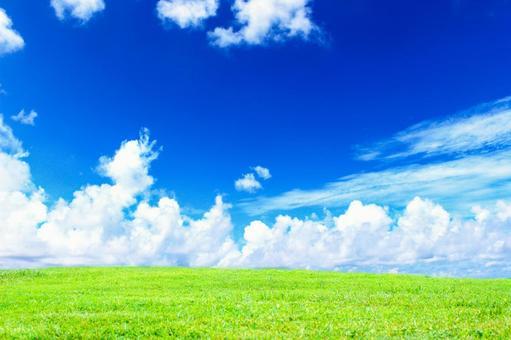 Blue sky and prairie