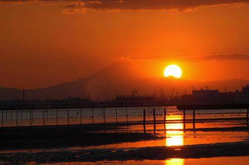 Mt. Fuji and the setting sun