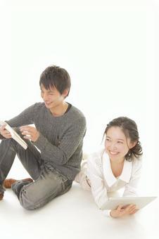 A couple reading 17