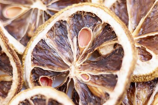 Close-up background image of dried lemon slices