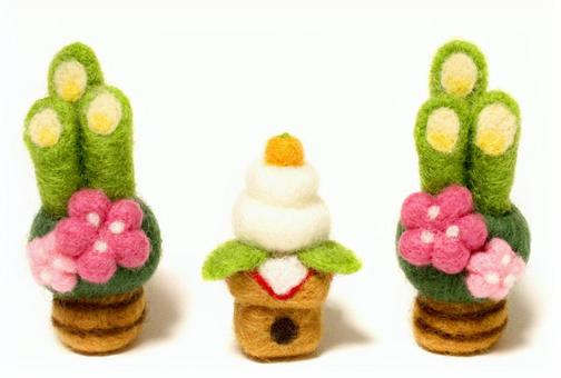 新年日子的Kadomatsu和镜子蛋糕_羊毛感觉