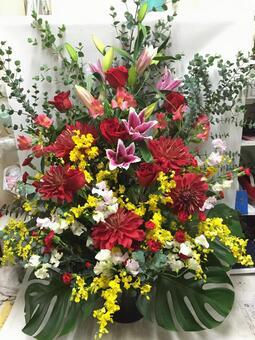 Festive flower arrangement Dahlia and Oshima