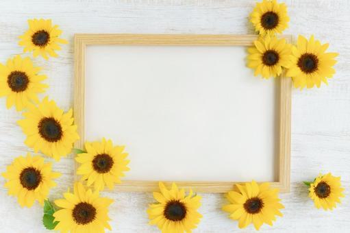 Sunflower wood frame background